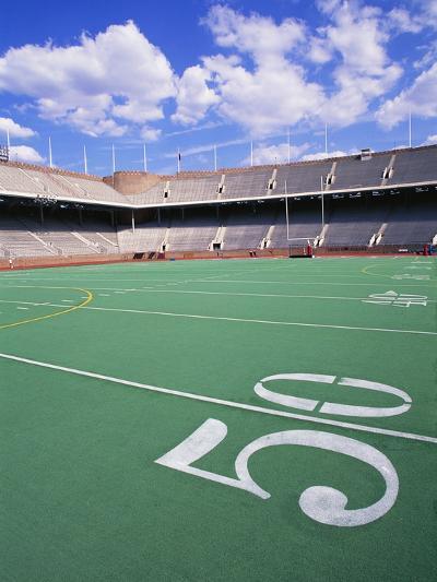 50 Yard Line on Empty Football Field-Alan Schein-Photographic Print