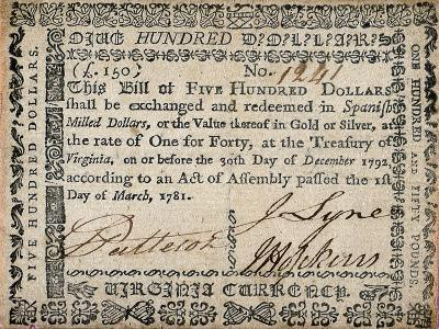 500 Dollar Note, C. 1781--Giclee Print