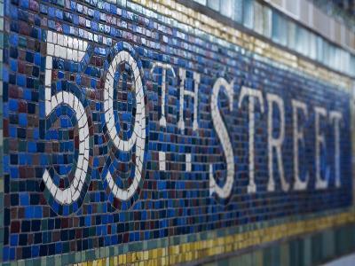 59Th Street Subway Station Sign.-Jon Hicks-Photographic Print