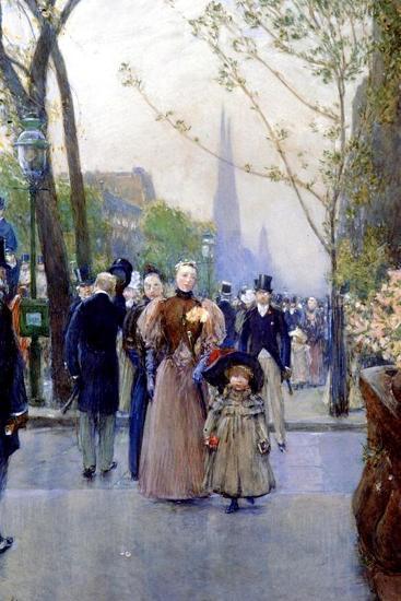 5th Avenue, Sunday, 1890-91-Childe Hassam-Giclee Print
