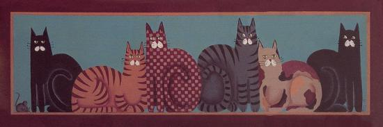 6 Cats with Border-Beverly Johnston-Giclee Print
