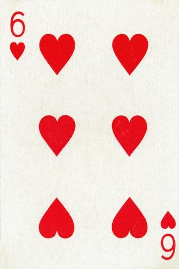 6 of Hearts from a deck of Goodall & Son Ltd. playing cards, c1940-Unknown-Giclee Print