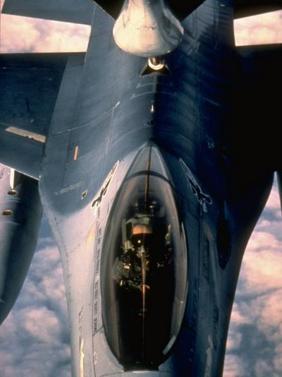 613th Tactical Flight Squadron, F-16A Falcon Fighter Aircraft Taking on Fuel over Sicily--Photographic Print