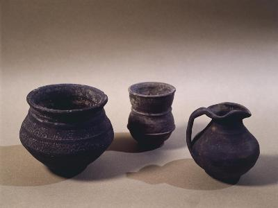 6th Century Terracotta Jug, Drinking Cup and Vase, from Oise Region--Giclee Print