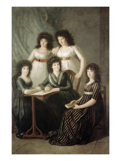 6th Contessa of Montijo and Her Four Daughters-Francisco de Goya-Giclee Print