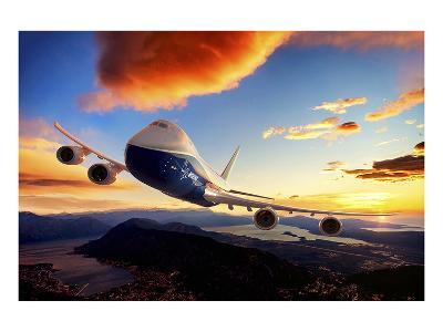 747-8F with colorful sky--Art Print