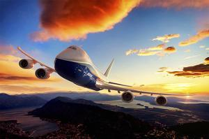 747-8F with colorful sky