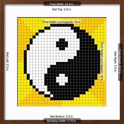 8 Bit Pixel Art Yin Yang Symbol Art Print Wongstock Art Com