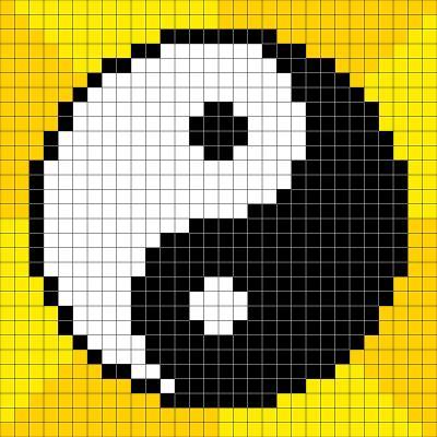 8-Bit Pixel-Art Yin Yang Symbol-wongstock-Art Print