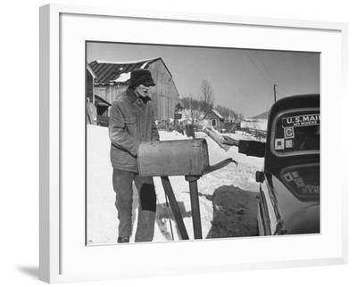85 Year-Old Elmer Bull Out to Meet Rural Mailman Mark Whalon Making Rounds in Sub-Zero Weather--Framed Photographic Print