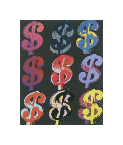 $9, 1982 (on black)-Andy Warhol-Giclee Print