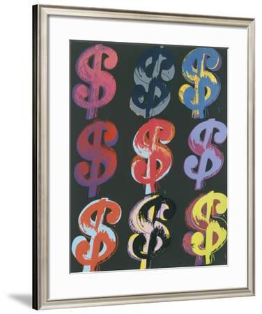 $9, c.1982 (on black)-Andy Warhol-Framed Art Print