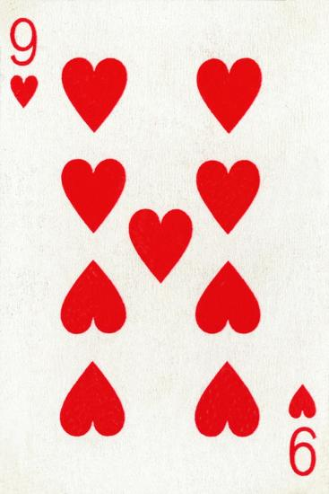 9 of Hearts from a deck of Goodall & Son Ltd. playing cards, c1940-Unknown-Giclee Print