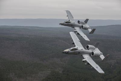 A-10 Thunderbolt Ii's Flying over Razorback Range, Arkansas-Stocktrek Images-Photographic Print