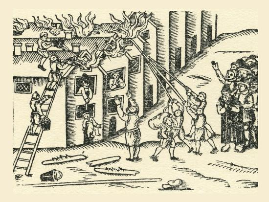 A 16th Century Fire Brigade at Work--Giclee Print