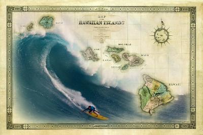 A 1876 Centennial Map of the Hawaiian Islands Depicting a Surfer on the Waves of Maui-Patrick McFeeley-Photographic Print