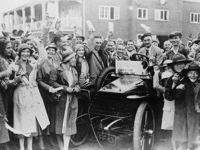 A 1904 Wolseley Amidst a Crowd of Cheering People, Brooklands, Surrey, Late 1920s-Early 1930s--Photographic Print