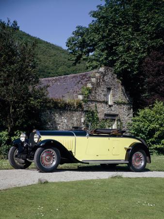 A 1934 Bugatti Type 46 Outside a Cottage