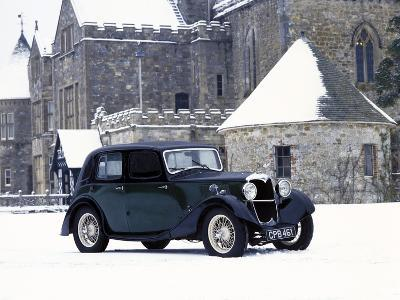 A 1934 Riley Falcon in the Snow--Photographic Print