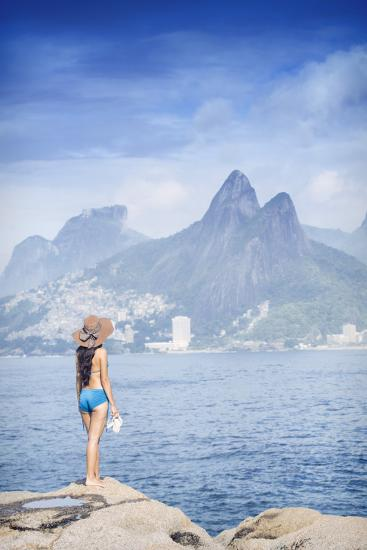 A 20-25 Year Old Young Brazilian Woman Standing on the Arpoador Rocks-Alex Robinson-Photographic Print