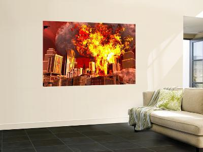 A 3D Conceptual Image of a Stealth Bomber Nuking a City-Stocktrek Images-Wall Mural