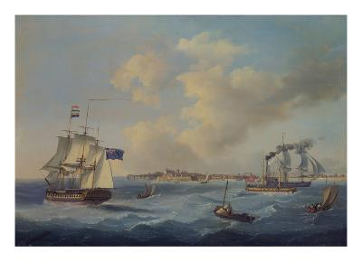 A 44-Gun Frigate, a Passenger Paddle-Steamer and Other Shipping Off St. Peter Port, Guernsey-John Thomas Serres-Giclee Print