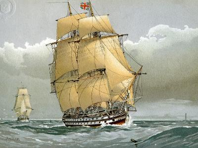 A 74 Gun Royal Navy Ship of the Line, C1794 (C1890-C189)-William Frederick Mitchell-Giclee Print