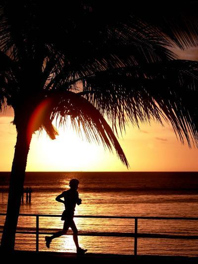 A Afternoon Runner Passes Under a Palm Tree as the Sun Sets Behind--Photographic Print