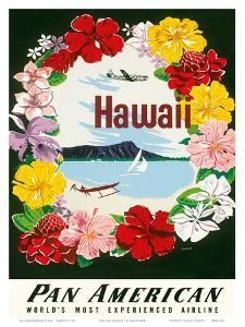 Hawaii - Flower Lei and Diamond Head Crater - Pan American World Airways by A^ Amspoker