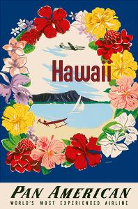 Hawaii - Pan American Airlines (PAA) - Flower Lei and Diamond Head Crater by A^ Amspoker