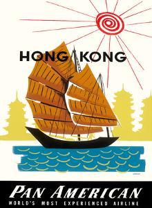 Hong Kong, China Pan Am American Traditional Sail Boat and Temples by A^ Amspoker