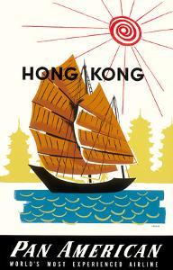 Hong Kong, China Pan Am American Traditional Sail Boat and Temples by A^ Amspoker