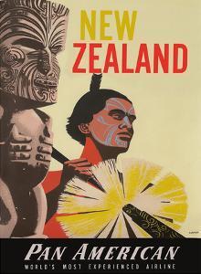 New Zealand - Pan American World Airways - Native Maori Warrior and Tiki by A^ Amspoker