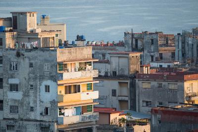 A Apartment Buildings in Havana, Cuba with the Gulf of Mexico in the Background-Erika Skogg-Photographic Print