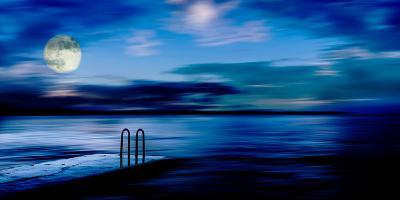 A Atmospheric Evening Shot of a Jetty Featuring a Full Moon and Blue Sky in Slovenia, Europe-Ray Watkins-Photographic Print