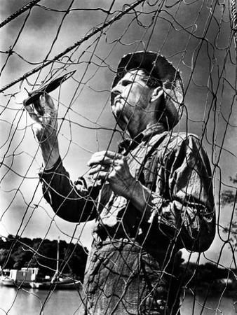 Mending the Fishing Net 1943 by A. Aubrey Bodine
