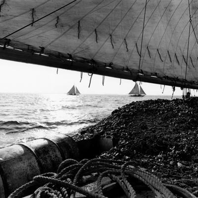 Oyster Dredging in the Chesapeake Bay by A. Aubrey Bodine
