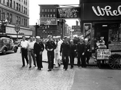 Sailors Crossing the Street in Norfolk, Virginia 1941 by A. Aubrey Bodine