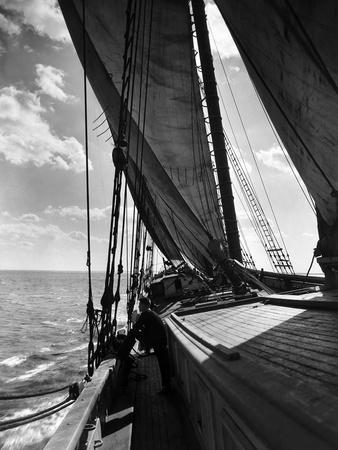 Schooner Doris Hamlin Bound Down Chesapeake Bay from Baltimore to Newport News