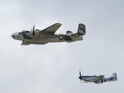 A B-25 Mitchell and a P-51 Mustang in Flight-Raul Touzon-Photographic Print