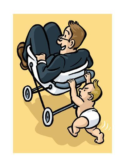 A baby begrudgingly pushes his father in a stroller. - Cartoon-Christoph Niemann-Premium Giclee Print