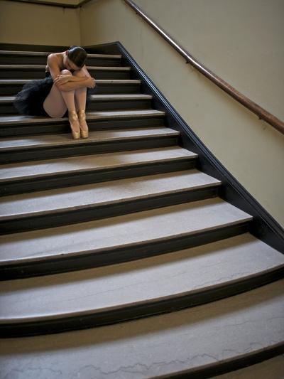 A Ballerina Resting in a Stairwell-Kike Calvo-Premium Photographic Print