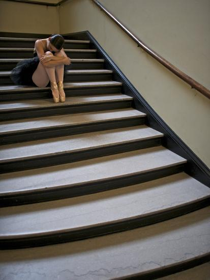 A Ballerina Resting in a Stairwell-Kike Calvo-Photographic Print