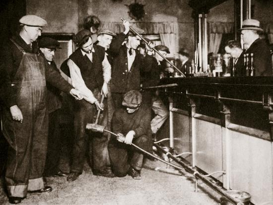 A bar in Camden, New Jersey, being forcibly dismantled by dry agents, USA, 1920s-Unknown-Photographic Print