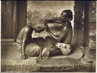A Barber at Work in Ceylon (Sri Lanka)--Photographic Print