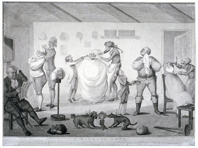 A Barber's Shop, 1784-Henry William Bunbury-Giclee Print