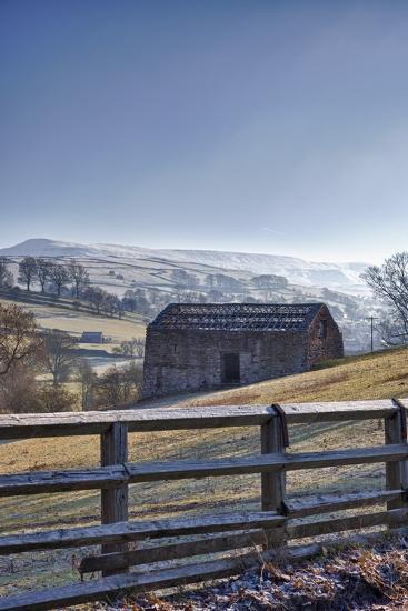 A Barn on a Hilly Landscape in the Fog; Yorkshire Dales, England-Design Pics Inc-Photographic Print