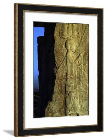 A Bas-Relief of a Four-Winged Guardian Figure Representing Cyrus the Great-Babak Tafreshi-Framed Photographic Print