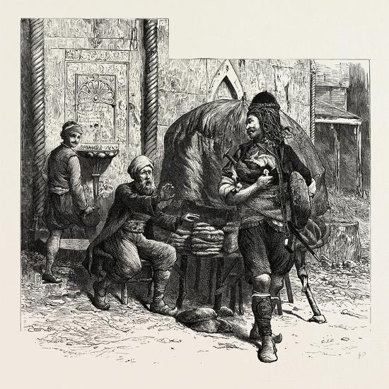 A Bashi-Bazouk and a Bread-Seller, Constantinople, Istanbul, Turkey, 19th Century--Giclee Print