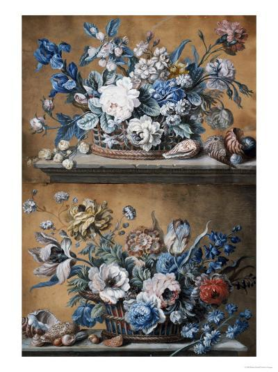 A Basket of Dahlias, Delphiniums, Peony, Primula, Tulips and Other Flowers on a Table-Peter Mazell-Giclee Print
